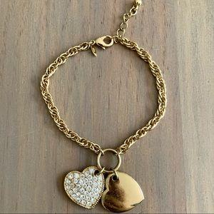 Avon Double Heart Crystal Charm Bracelet